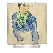 Frauenbildnis Mit Blauem Und Grunem Shower Curtain