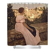 Frederic Bazille   The Pink Dress Shower Curtain
