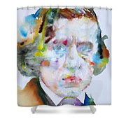 Frederic Chopin - Watercolor Portrait Shower Curtain