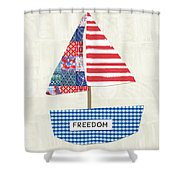Freedom Boat- Art By Linda Woods Shower Curtain
