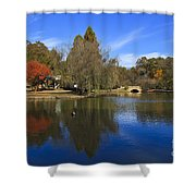 Freedom Park Bridge And Lake In Charlotte Shower Curtain