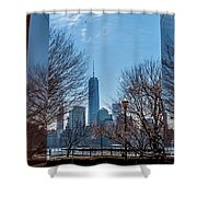 Freedom Tower Framed Shower Curtain