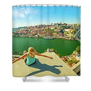 Freedom Woman At Douro River Shower Curtain