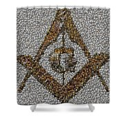 Freemason Coin Mosaic Shower Curtain