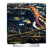 Freeway Winds Through Portland, Oregon At Night Shower Curtain by Bryan Mullennix