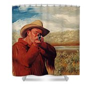 Freeze    Rifleman With Muzzle Loader Western Painting Shower Curtain