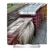 Freight Train Abstract Shower Curtain