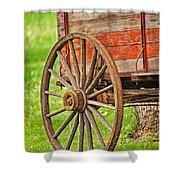 Freight Wagon Wheel Shower Curtain
