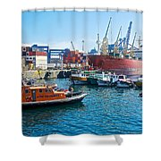 Freighter And Shipping Containers In Port Of Valpaparaiso-chile Shower Curtain