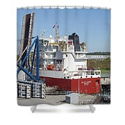 Freighter In Lock Of Saint Lawrence Shower Curtain