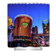 Fremont Street Entrance From The East At Dusk Shower Curtain