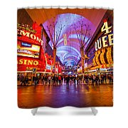 Fremont Street Experience At Night In Las Vegas Shower Curtain by Bryan Mullennix