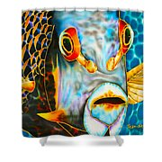French Angelfish Face Shower Curtain