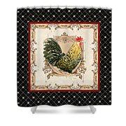French Country Roosters Quartet Black 3 Shower Curtain