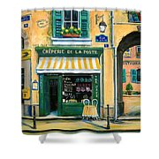 French Creperie Shower Curtain by Marilyn Dunlap