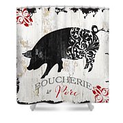 French Farm Sign Piglet Shower Curtain