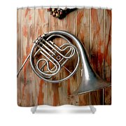 French Horn Hanging On Wall Shower Curtain
