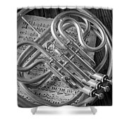 French Horn In Black And White Shower Curtain