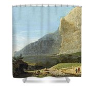 French Master 1st Half Of Th 19th Century   Rocky Cliff Off Shore Shower Curtain