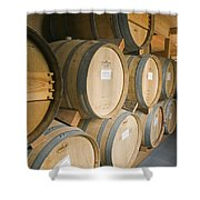 French Oak Barrels Of Wine At Midnight Shower Curtain