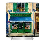 French Pastry Shop Shower Curtain by Marilyn Dunlap