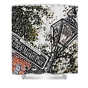 French Quarter French Market Street Sign New Orleans Colored Pencil Digital Art Shower Curtain