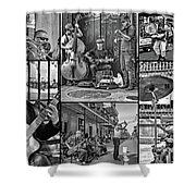French Quarter Musicians Collage Bw Shower Curtain