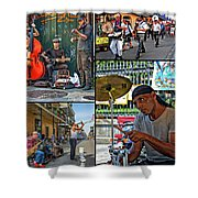 French Quarter Musicians Collage Shower Curtain