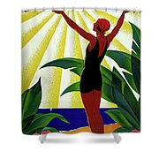 French Riviera, Girl On The Beach, France Shower Curtain