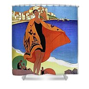 French Riviera, Woman On The Beach, Paris, Lyon, Mediterranean Railway Shower Curtain