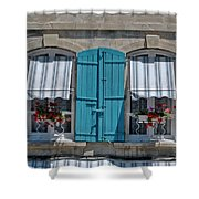 Shuttered Windows And Flowers Shower Curtain