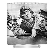 French World War Two Postcard Celebrating The British Bulldog As A Mascot For The Royal Air Force Shower Curtain