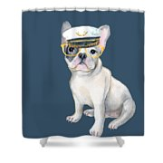 Frenchie French Bulldog Yellow Glasses Captains Hat Dogs In Clothes Shower Curtain