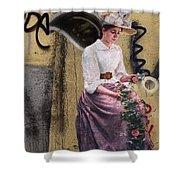 Frescoe Painting Of A Woman In Traditional Dress With Flowers Am Shower Curtain