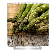 Fresh Asparagus On Napkin And Rustic Wood  Shower Curtain