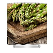 Fresh Asparagus On Rustic Wooden Server Board Shower Curtain