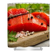 Fresh Copper River Salmon Fillets On Rustic Wooden Server With S Shower Curtain