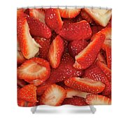 Fresh Cut Strawberries Shower Curtain