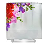 Fresh Freesia Flowers On Blue Shower Curtain