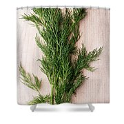 Fresh Green Dill On Wooden Plank Shower Curtain