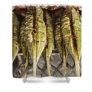 Fresh Grilled Asian Fish In Kep Market Cambodia Shower Curtain