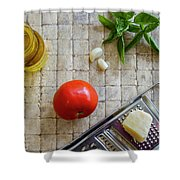 Fresh Italian Cooking Ingredients On Tile Shower Curtain
