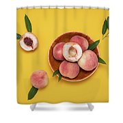Fresh Juicy Peaches And Green Leaves Shower Curtain