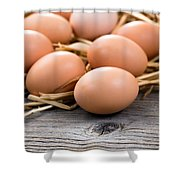 Fresh Organic Eggs On Rustic Wooden Boards And Straw Shower Curtain