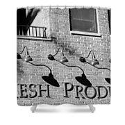 Fresh Produce Signage Black And White Shower Curtain