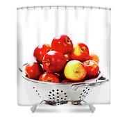 Fresh Red Apples In Metal Colander Shower Curtain