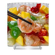 Fresh Shrimp And Peppers On White Serving Plate Ready To Eat Shower Curtain