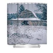 Fresh Snow Sits On The Ground Around An Old Barn Shower Curtain