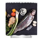 Fresh Whole Raw Fish And Herbs Displayed On Natural Slate Stone  Shower Curtain