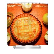 Freshly Baked Pie Surrounded By Apples On Table Shower Curtain